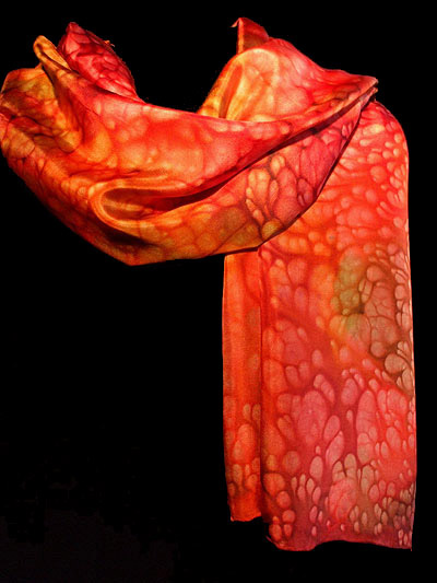 Red Sugared hand painted Silk Scarf taynuilt argyll
