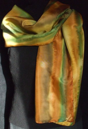 Gold Blend hand painted Silk Scarf
