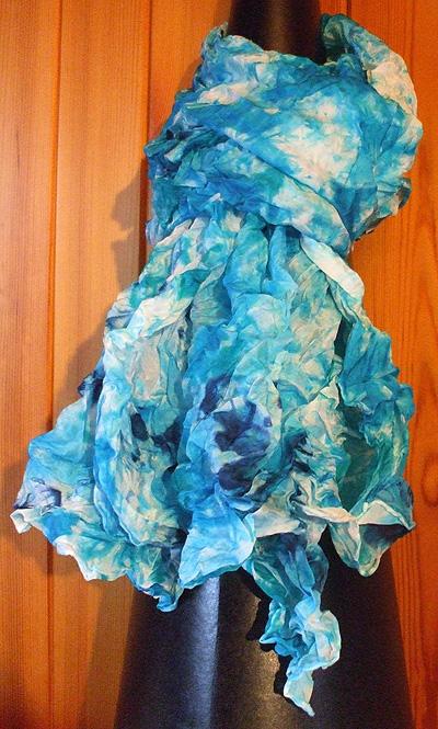 Crinkled Blue Silk Scarf