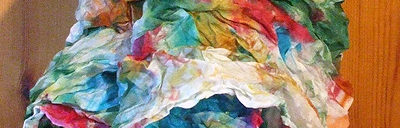 Crinkled Multi-Coloured Silk Scarf